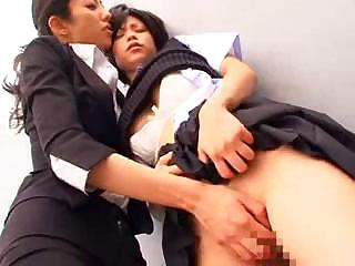 Two Japanese lesbians are learning all about rub-down the wet pussy