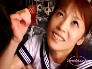 Asian Schoolgirl Makes Omnibus Lesbian Baby Decoration 5
