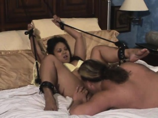 Hot Asian babe in arms gets bound and fucked