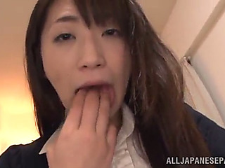 Japanese babe countryside a hard toy in her gash