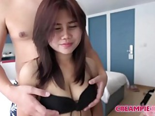 Japanese man creampies Asian girl with big droopy boobs