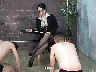Japanese femdom slaps men, whipping, with the addition of trampling