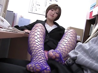 Fabulous Japanese chick with regard to Remarkable Footjob, HD JAV movie