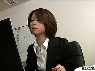 Asian office lady Tsubaki characteristic sitting make an issue of milksop coxcomb